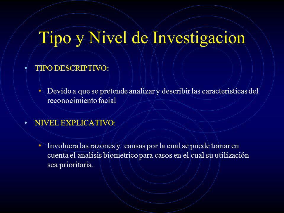 Tipo y Nivel de Investigacion TIPO DESCRIPTIVO: Devido a que se pretende analizar y describir las caracteristicas del reconocimiento facial NIVEL EXPL