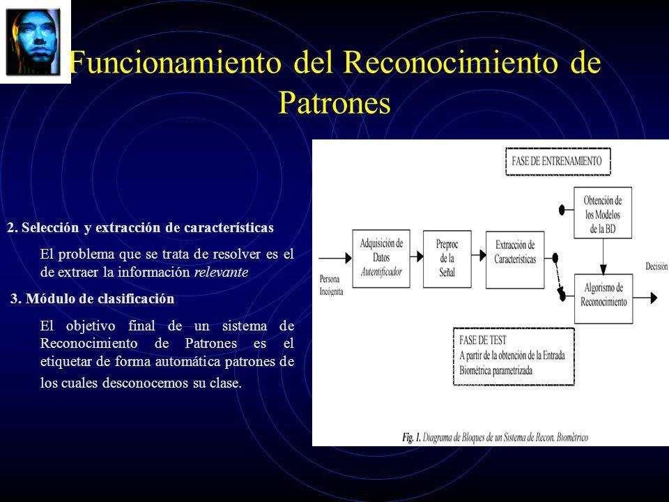 Funcionamiento del Reconocimiento de Patrones 2. Selección y extracción de características El problema que se trata de resolver es el de extraer la in
