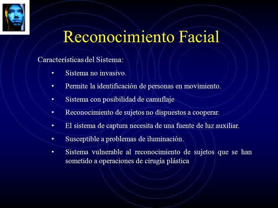 Reconocimiento Facial Características del Sistema: Sistema no invasivo. Permite la identificación de personas en movimiento. Sistema con posibilidad d