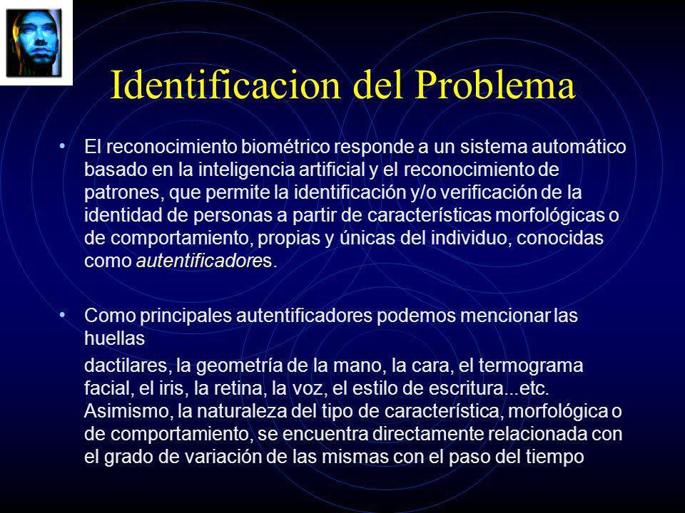 Identificacion del Problema autentificadores El reconocimiento biométrico responde a un sistema automático basado en la inteligencia artificial y el r