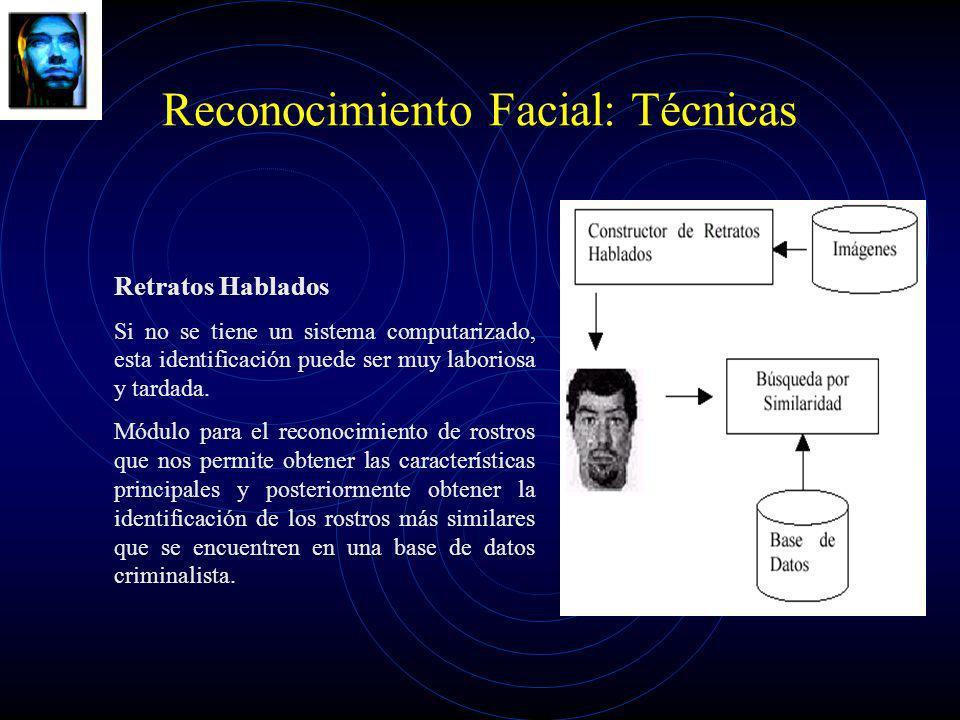 Reconocimiento Facial: Técnicas Retratos Hablados Si no se tiene un sistema computarizado, esta identificación puede ser muy laboriosa y tardada. Módu