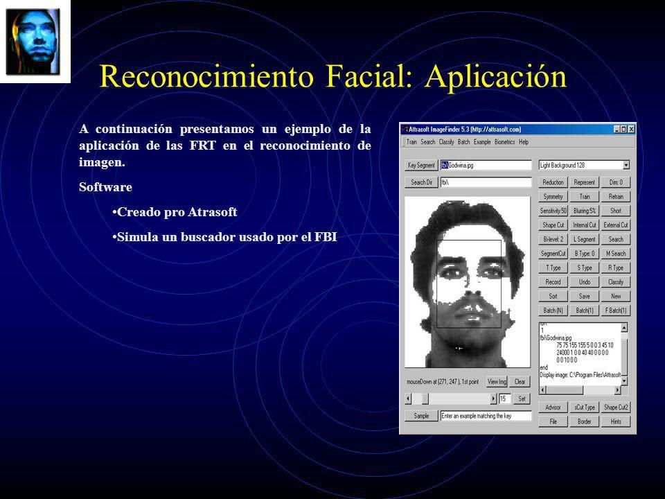 Reconocimiento Facial: Aplicación A continuación presentamos un ejemplo de la aplicación de las FRT en el reconocimiento de imagen. Software Creado pr