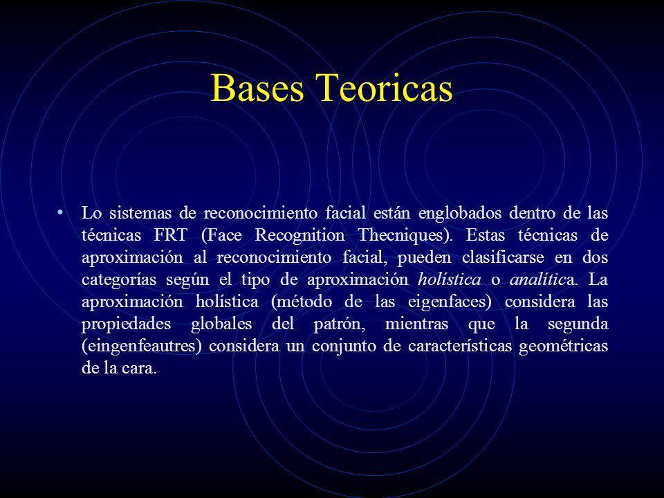 Bases Teoricas Lo sistemas de reconocimiento facial están englobados dentro de las técnicas FRT (Face Recognition Thecniques). Estas técnicas de aprox