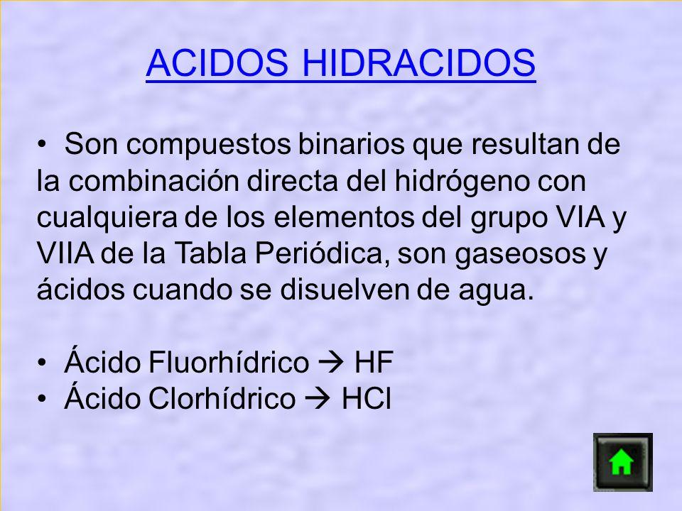 Son compuestos binarios que resultan de la combinación directa del hidrógeno con cualquiera de los elementos del grupo VIA y VIIA de la Tabla Periódic