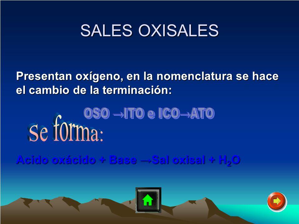 SALES OXISALES SALES OXISALES Presentan oxígeno, en la nomenclatura se hace el cambio de la terminación: Presentan oxígeno, en la nomenclatura se hace