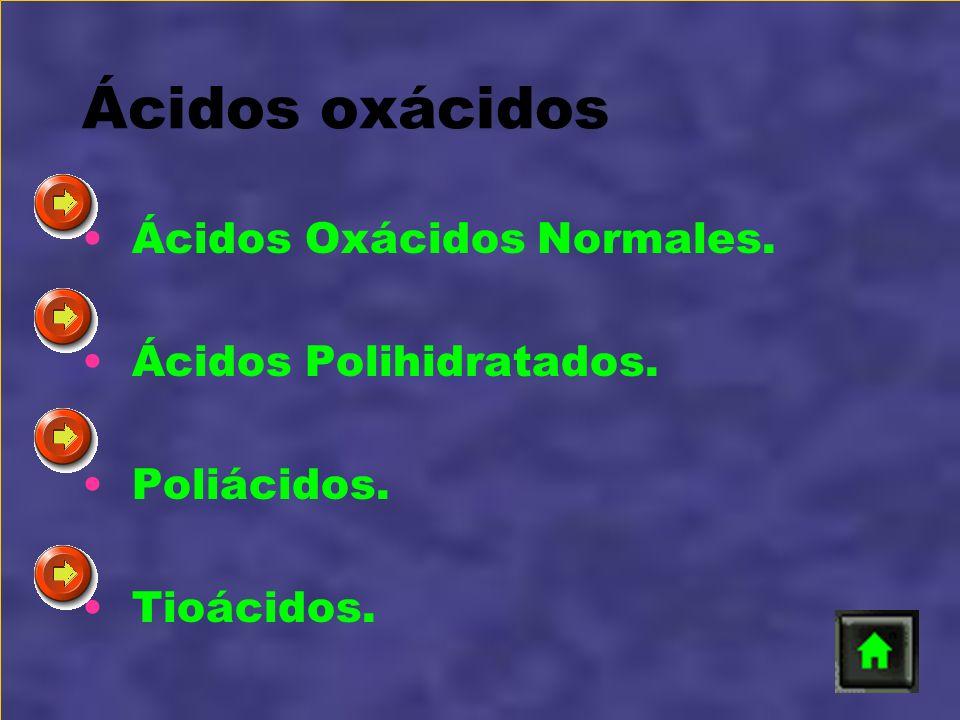 Ácidos oxácidos Ácidos Oxácidos Normales. Ácidos Polihidratados. Poliácidos. Tioácidos.