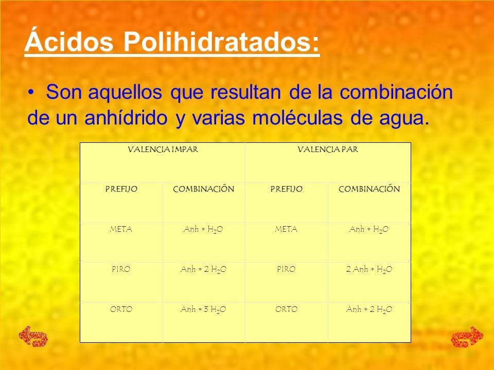 Ácidos Polihidratados: Son aquellos que resultan de la combinación de un anhídrido y varias moléculas de agua. Son aquellos que resultan de la combina