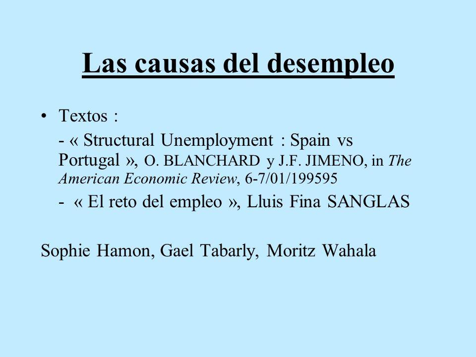 Las causas del desempleo Textos : - « Structural Unemployment : Spain vs Portugal », O. BLANCHARD y J.F. JIMENO, in The American Economic Review, 6-7/