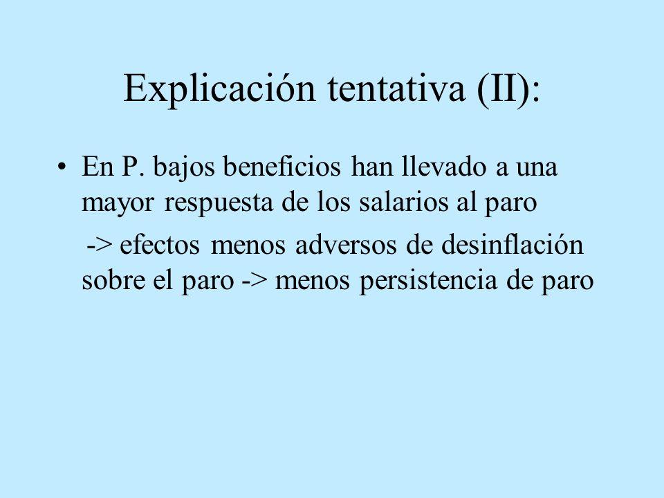 Explicación tentativa (II): En P. bajos beneficios han llevado a una mayor respuesta de los salarios al paro -> efectos menos adversos de desinflación