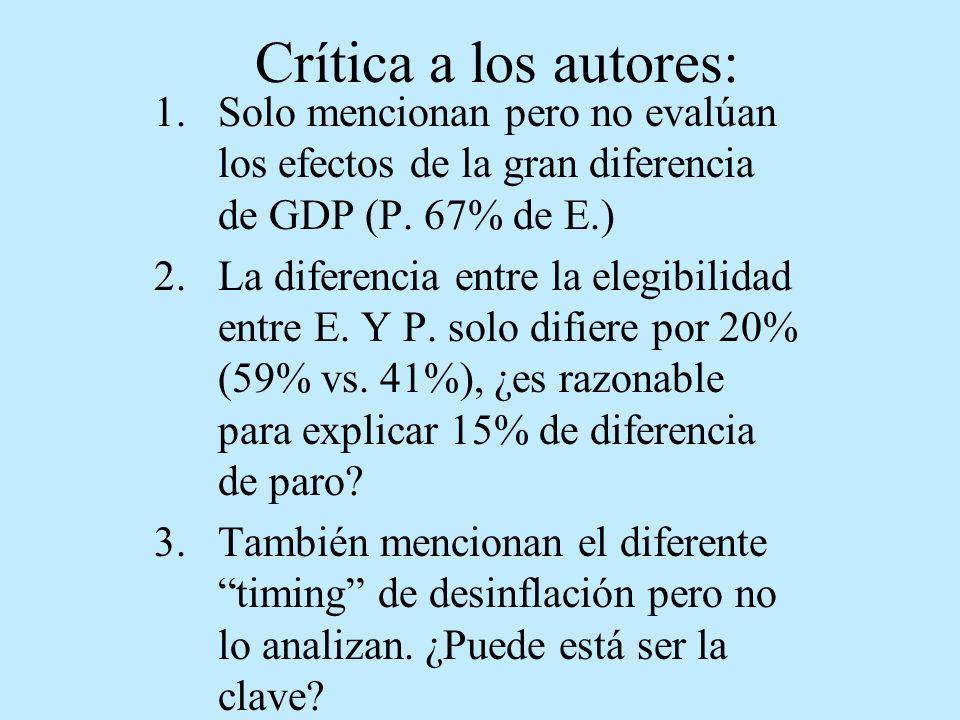 Crítica a los autores: 1.Solo mencionan pero no evalúan los efectos de la gran diferencia de GDP (P. 67% de E.) 2.La diferencia entre la elegibilidad