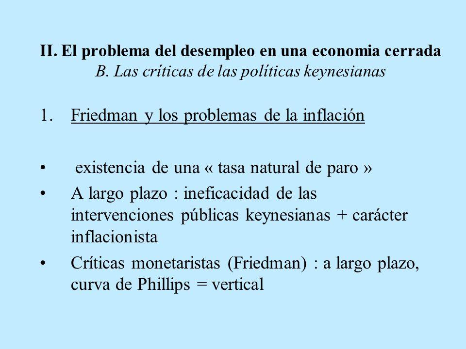 II. El problema del desempleo en una economia cerrada B. Las críticas de las políticas keynesianas 1.Friedman y los problemas de la inflación existenc