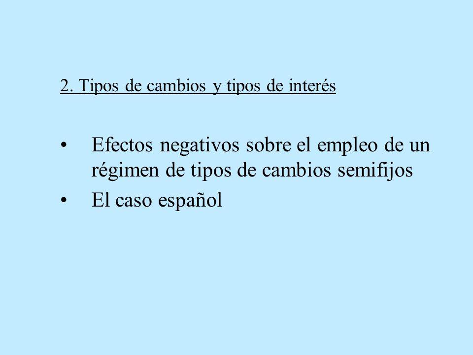2. Tipos de cambios y tipos de interés Efectos negativos sobre el empleo de un régimen de tipos de cambios semifijos El caso español