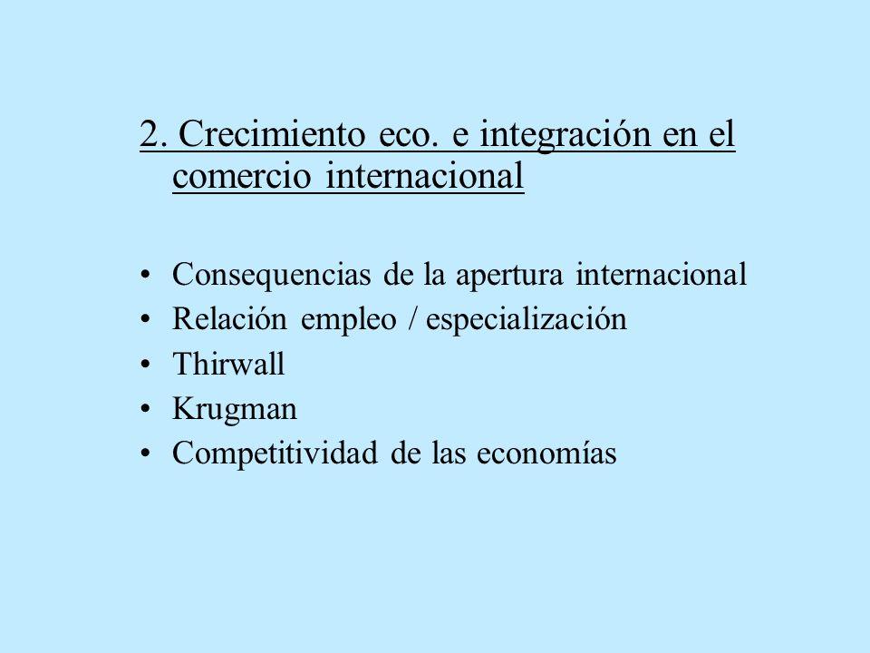 2. Crecimiento eco. e integración en el comercio internacional Consequencias de la apertura internacional Relación empleo / especialización Thirwall K