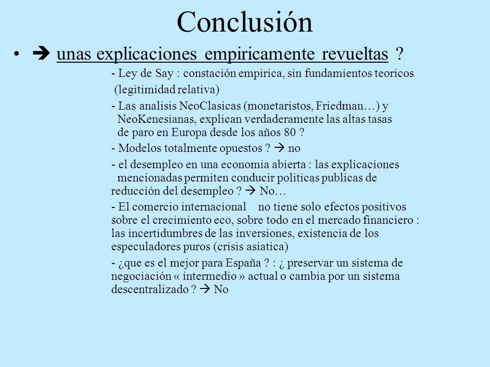 Conclusión unas explicaciones empiricamente revueltas ? - Ley de Say : constación empirica, sin fundamientos teoricos (legitimidad relativa) - Las ana