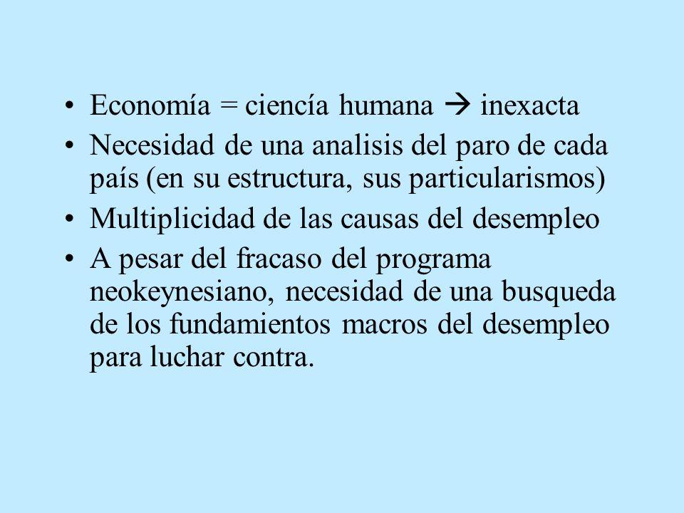Economía = ciencía humana inexacta Necesidad de una analisis del paro de cada país (en su estructura, sus particularismos) Multiplicidad de las causas