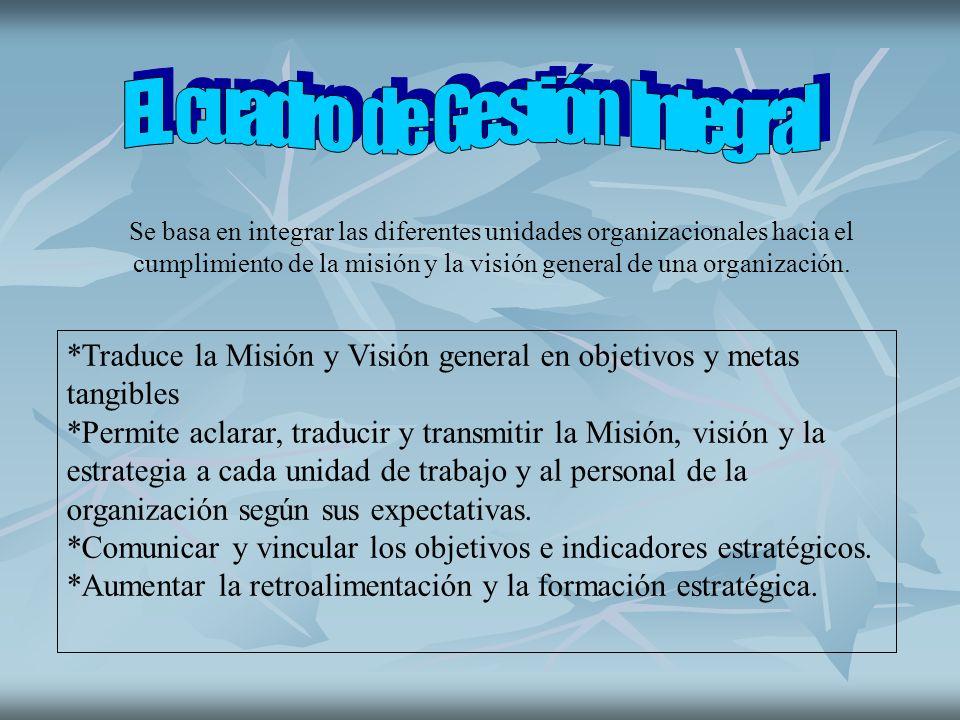 Se basa en integrar las diferentes unidades organizacionales hacia el cumplimiento de la misión y la visión general de una organización. *Traduce la M