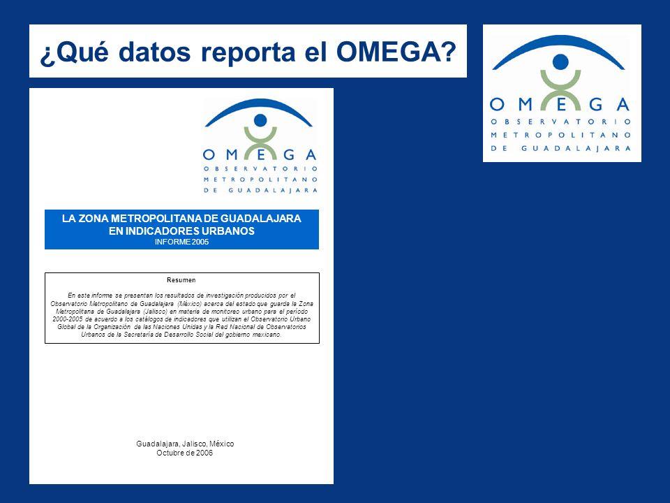 ¿Qué datos reporta el OMEGA? LA ZONA METROPOLITANA DE GUADALAJARA EN INDICADORES URBANOS INFORME 2005 Resumen En este informe se presentan los resulta