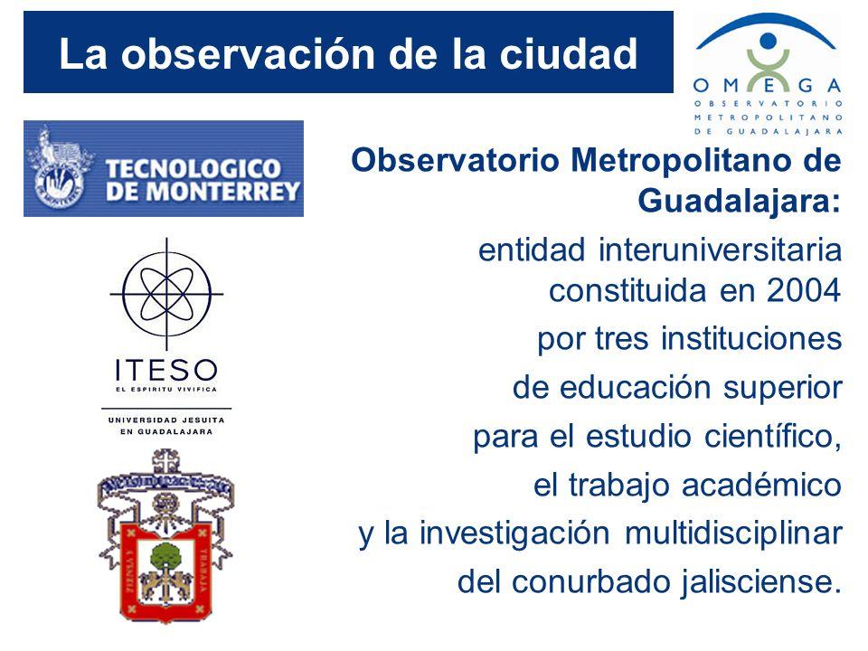 La observación de la ciudad Observatorio Metropolitano de Guadalajara: entidad interuniversitaria constituida en 2004 por tres instituciones de educac