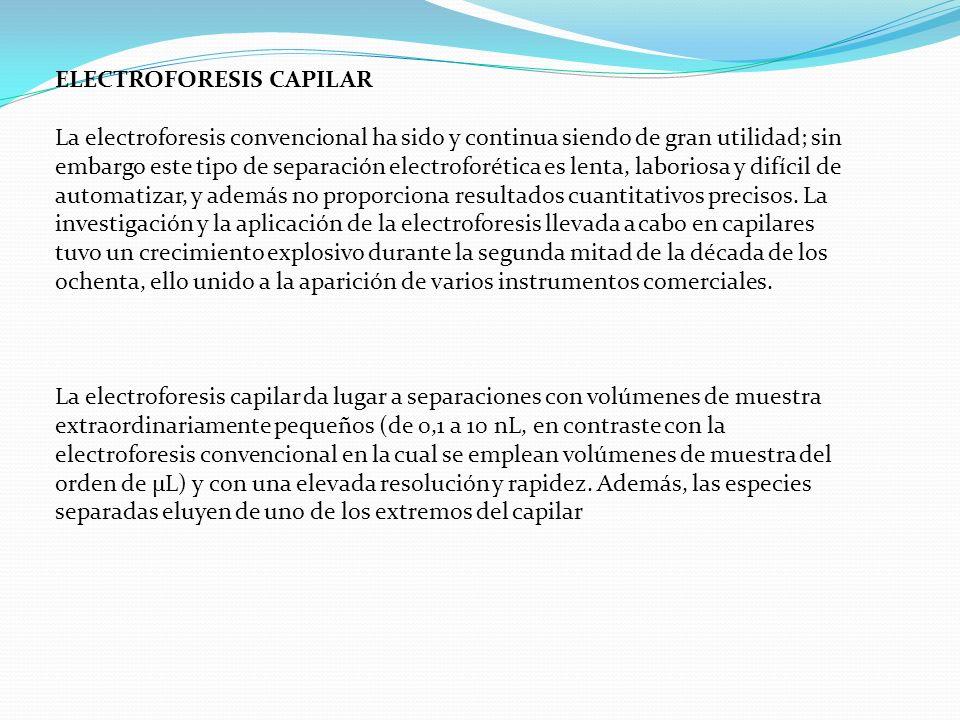 ELECTROFORESIS CAPILAR La electroforesis convencional ha sido y continua siendo de gran utilidad; sin embargo este tipo de separación electroforética