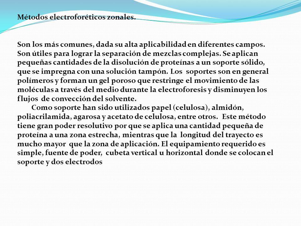Métodos electroforéticos zonales. Son los más comunes, dada su alta aplicabilidad en diferentes campos. Son útiles para lograr la separación de mezcla