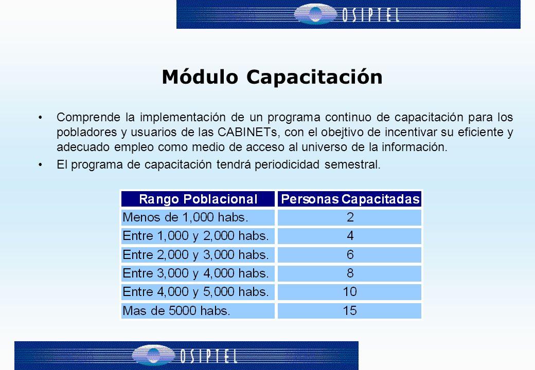 Módulo Capacitación Comprende la implementación de un programa continuo de capacitación para los pobladores y usuarios de las CABINETs, con el obejtivo de incentivar su eficiente y adecuado empleo como medio de acceso al universo de la información.