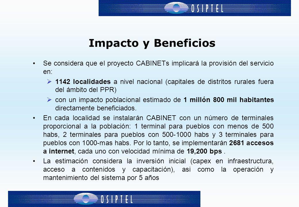 Impacto y Beneficios Se considera que el proyecto CABINETs implicará la provisión del servicio en: 1142 localidades a nivel nacional (capitales de distritos rurales fuera del ámbito del PPR) con un impacto poblacional estimado de 1 millón 800 mil habitantes directamente beneficiados.
