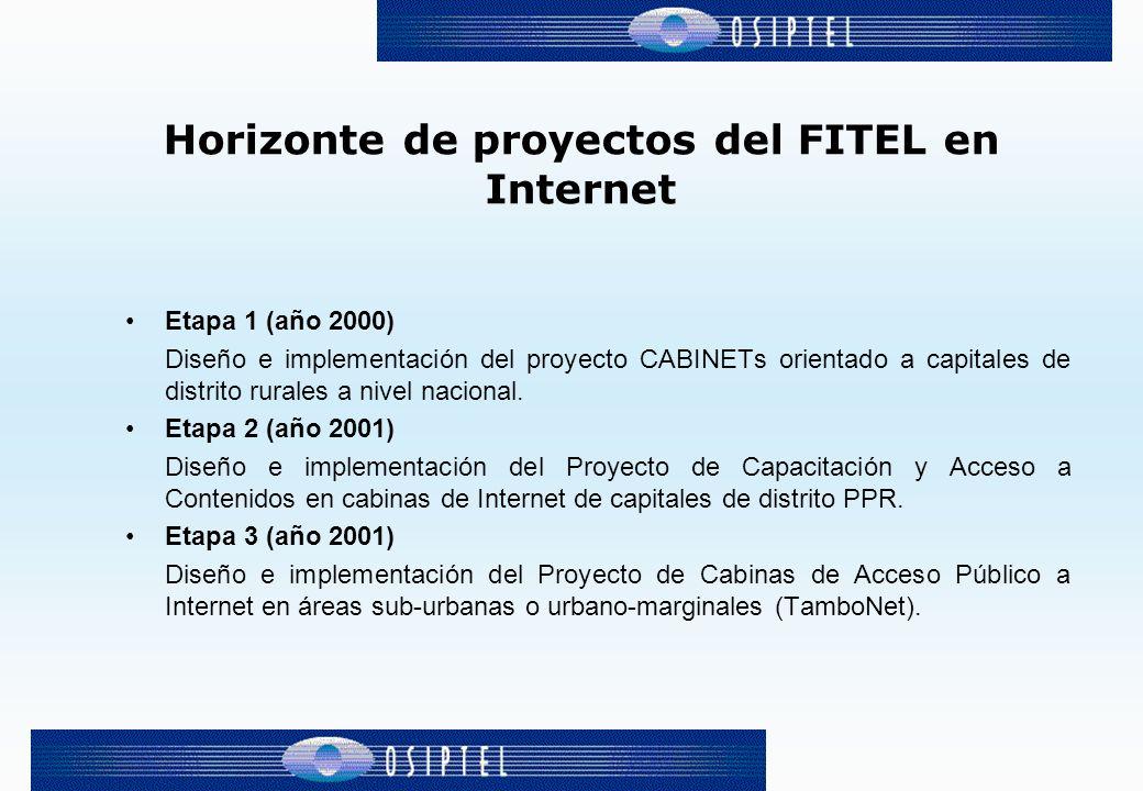 Etapa 1 (año 2000) Diseño e implementación del proyecto CABINETs orientado a capitales de distrito rurales a nivel nacional. Etapa 2 (año 2001) Diseño