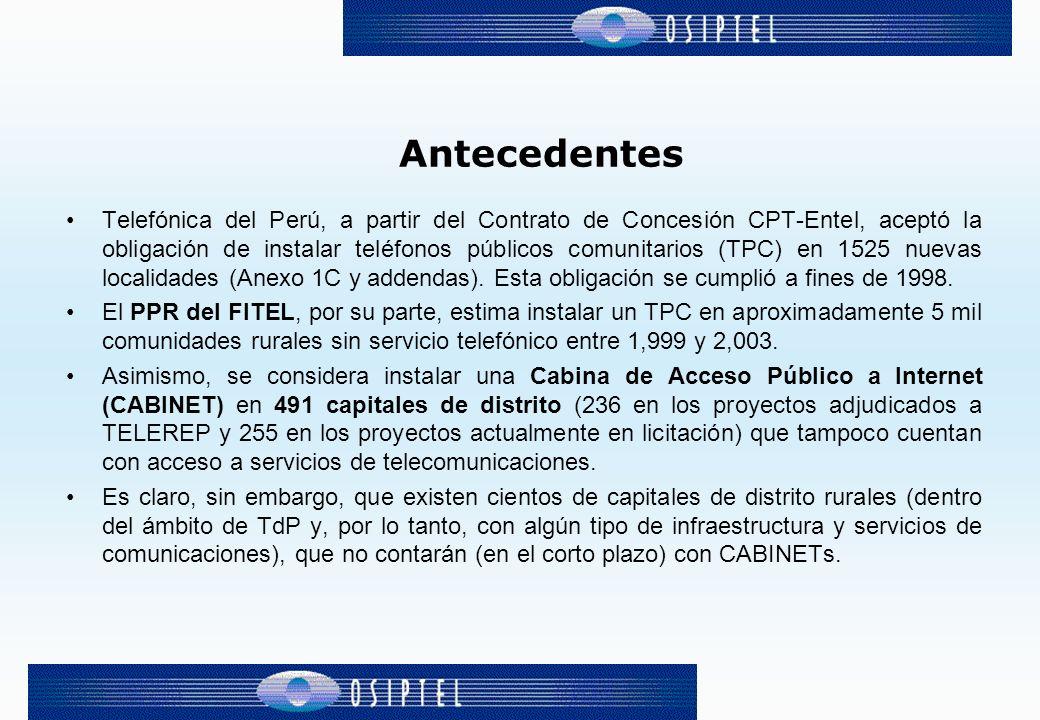 Antecedentes Telefónica del Perú, a partir del Contrato de Concesión CPT-Entel, aceptó la obligación de instalar teléfonos públicos comunitarios (TPC)