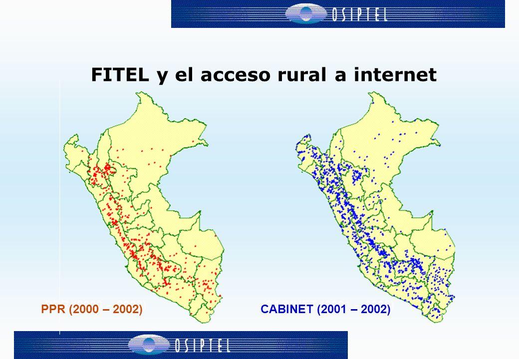 Objetivos Este proyecto tiene como objetivo desarrollar la política de Acceso Universal a través de la instalación de CABINETs, creando mecanismos de incentivo (a través del FITEL) para que se brinde el acceso a Internet en todas las capitales de distritos rurales que, luego del PPR, no cuenten con este servicio.