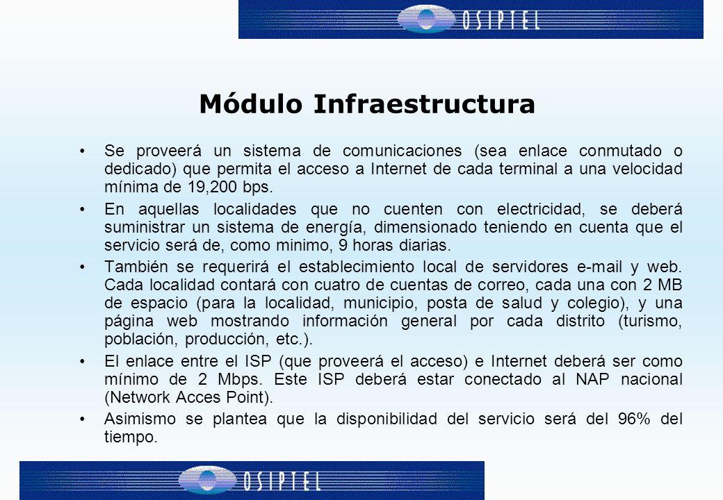 Módulo Infraestructura Se proveerá un sistema de comunicaciones (sea enlace conmutado o dedicado) que permita el acceso a Internet de cada terminal a