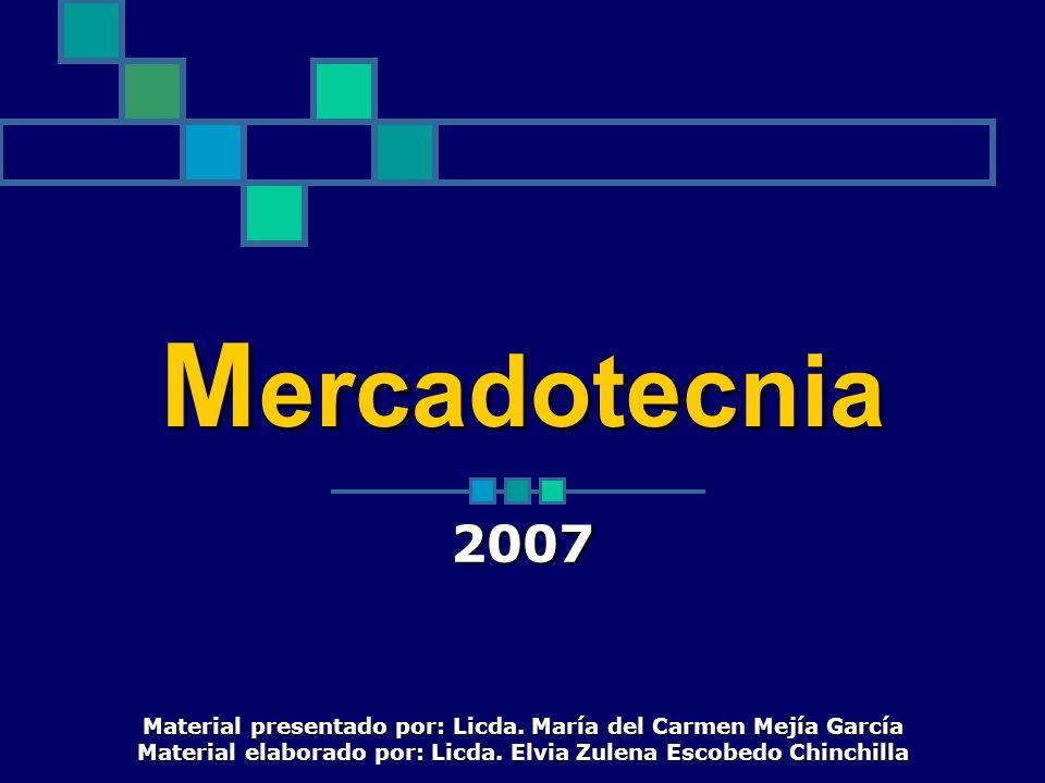 M ercadotecnia 2007 Material presentado por: Licda. María del Carmen Mejía García Material elaborado por: Licda. Elvia Zulena Escobedo Chinchilla