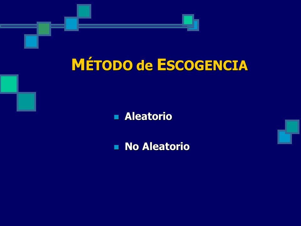 M ÉTODO de E SCOGENCIA Aleatorio Aleatorio No Aleatorio No Aleatorio