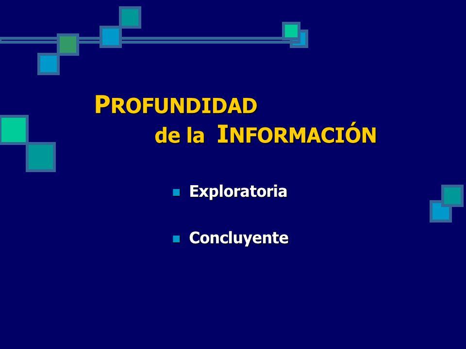 P ROFUNDIDAD de la I NFORMACIÓN Exploratoria Exploratoria Concluyente Concluyente