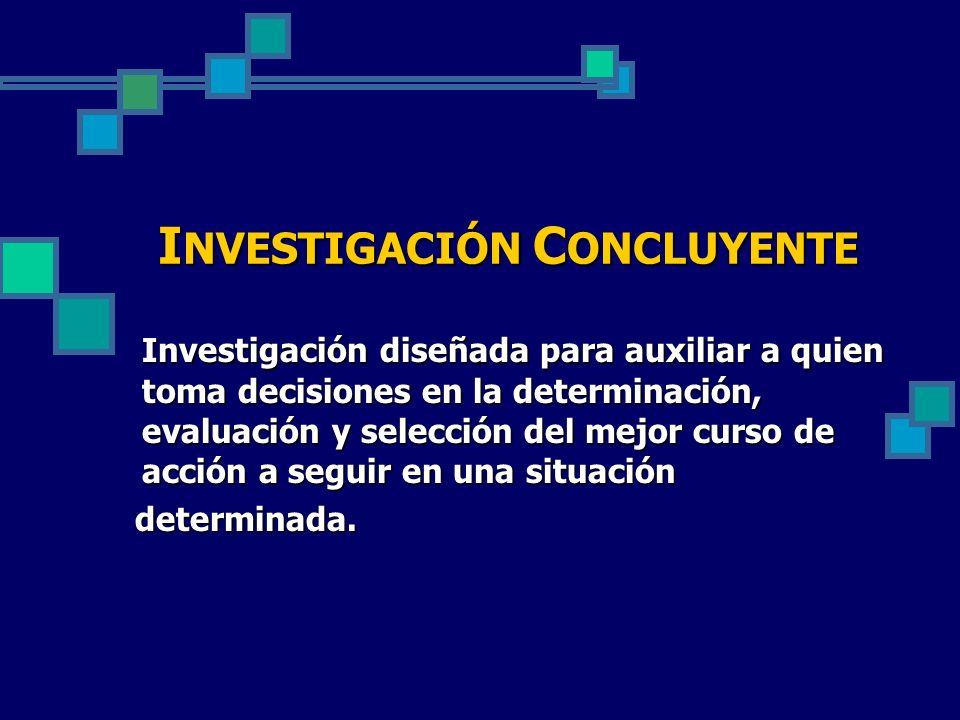 Investigación diseñada para auxiliar a quien toma decisiones en la determinación, evaluación y selección del mejor curso de acción a seguir en una sit