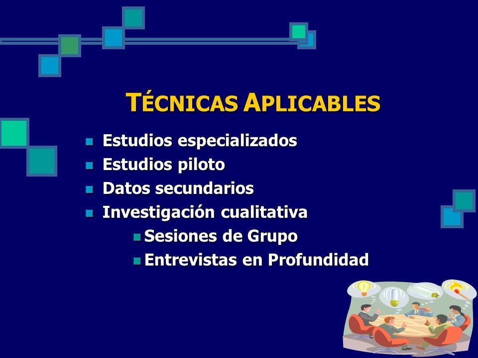 T ÉCNICAS A PLICABLES Estudios especializados Estudios especializados Estudios piloto Estudios piloto Datos secundarios Datos secundarios Investigació