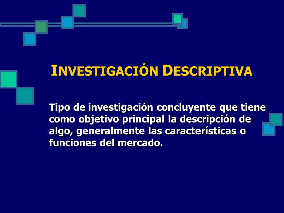 Tipo de investigación concluyente que tiene como objetivo principal la descripción de algo, generalmente las características o funciones del mercado.