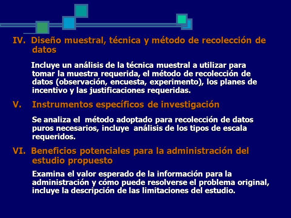 IV. Diseño muestral, técnica y método de recolección de datos Incluye un análisis de la técnica muestral a utilizar para tomar la muestra requerida, e