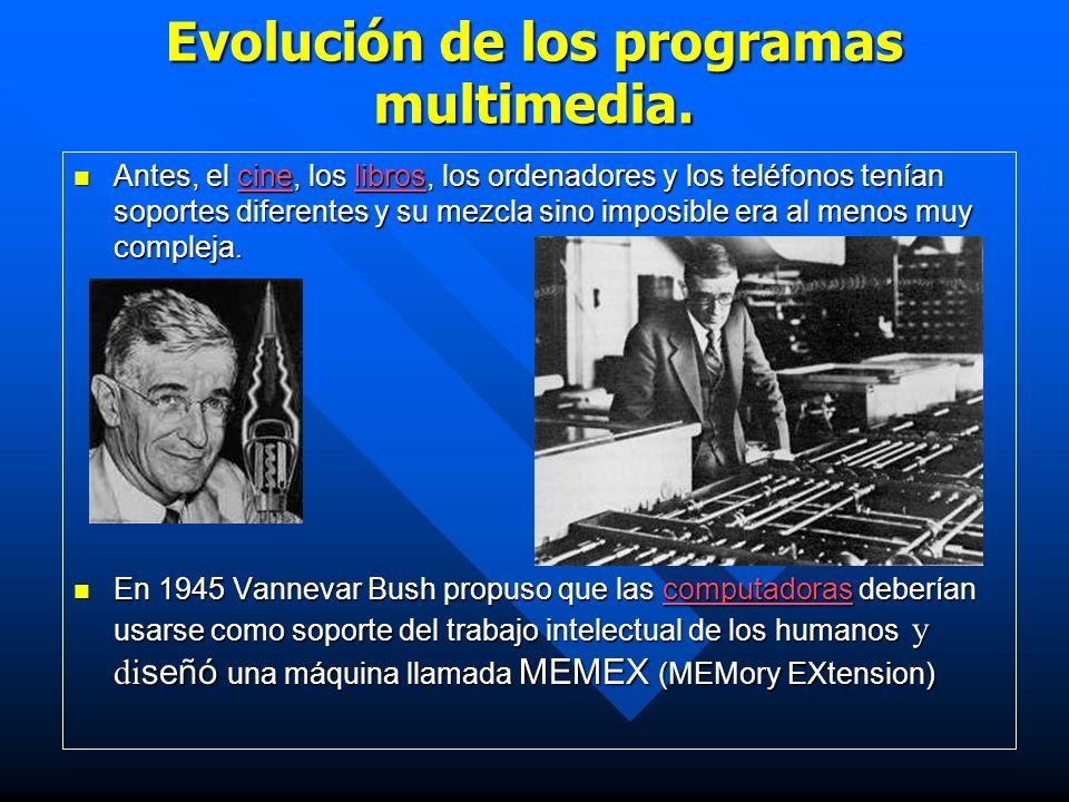 Evolución de los programas multimedia. Antes, el cine, los libros, los ordenadores y los teléfonos tenían soportes diferentes y su mezcla sino imposib