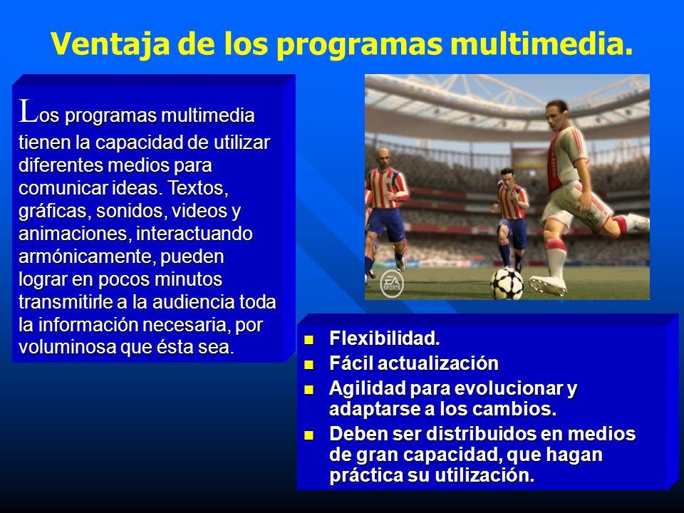 Ventaja de los programas multimedia. Flexibilidad. Flexibilidad. Fácil actualización Fácil actualización Agilidad para evolucionar y adaptarse a los c
