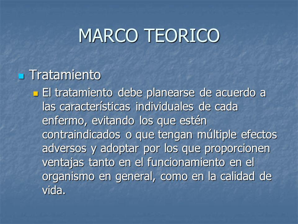MARCO TEORICO Tratamiento Tratamiento El tratamiento debe planearse de acuerdo a las características individuales de cada enfermo, evitando los que es