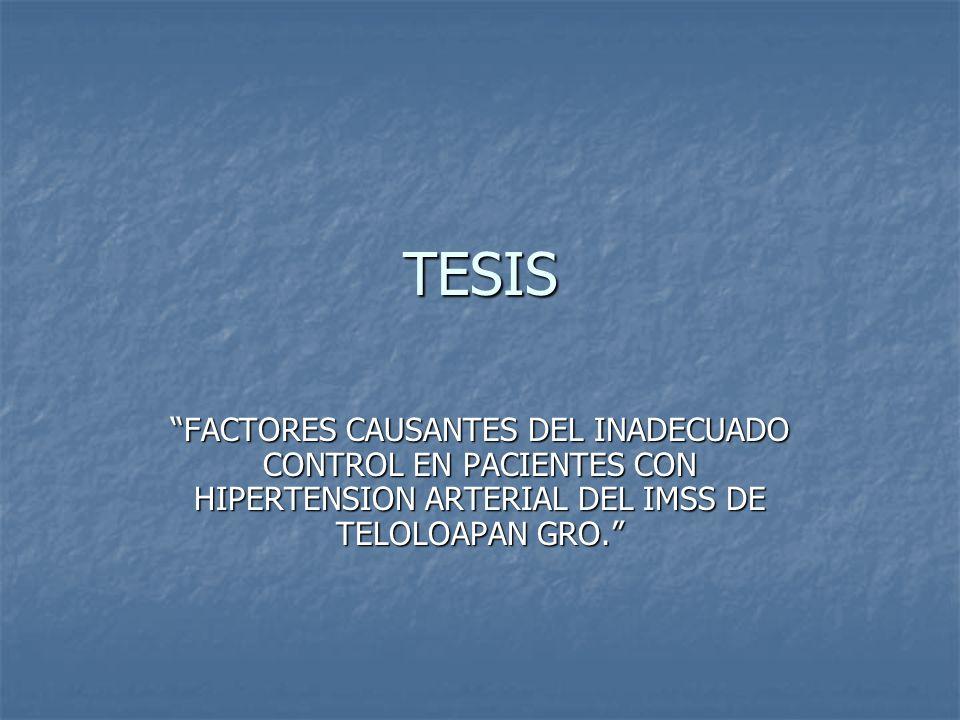 TESIS FACTORES CAUSANTES DEL INADECUADO CONTROL EN PACIENTES CON HIPERTENSION ARTERIAL DEL IMSS DE TELOLOAPAN GRO.