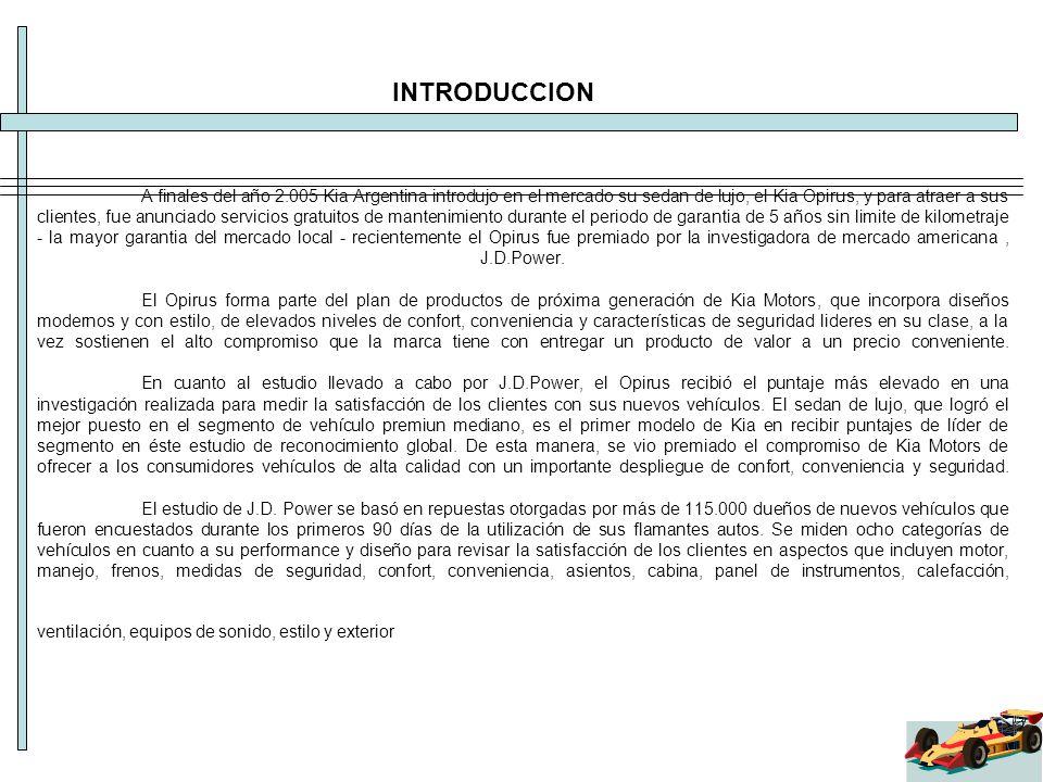 A finales del año 2.005 Kia Argentina introdujo en el mercado su sedan de lujo, el Kia Opirus, y para atraer a sus clientes, fue anunciado servicios g