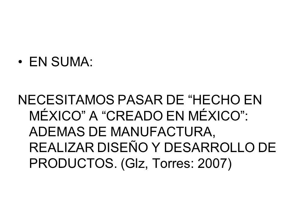 EN SUMA: NECESITAMOS PASAR DE HECHO EN MÉXICO A CREADO EN MÉXICO: ADEMAS DE MANUFACTURA, REALIZAR DISEÑO Y DESARROLLO DE PRODUCTOS.