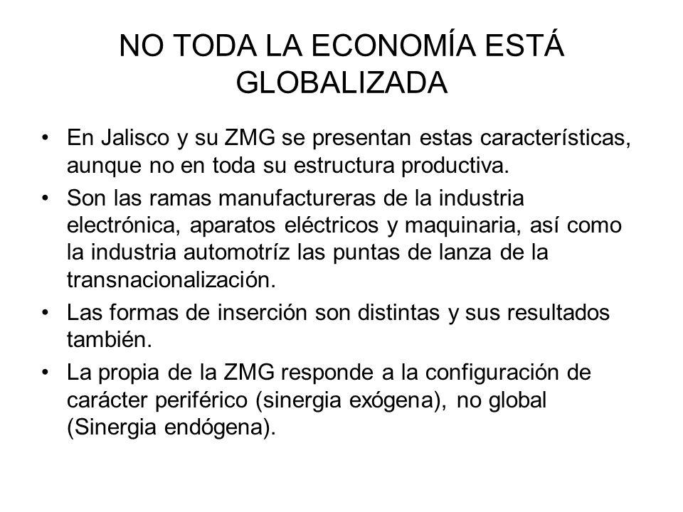 NO TODA LA ECONOMÍA ESTÁ GLOBALIZADA En Jalisco y su ZMG se presentan estas características, aunque no en toda su estructura productiva.