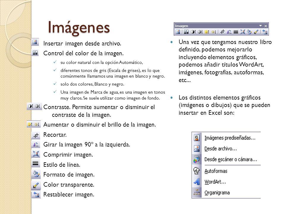 Imágenes Insertar imagen desde archivo. Control del color de la imagen. su color natural con la opción Automático, diferentes tonos de gris (Escala de