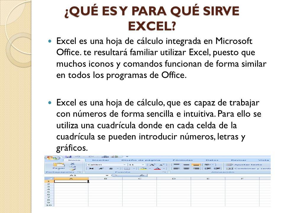 ¿QUÉ ES Y PARA QUÉ SIRVE EXCEL? Excel es una hoja de cálculo integrada en Microsoft Office. te resultará familiar utilizar Excel, puesto que muchos ic