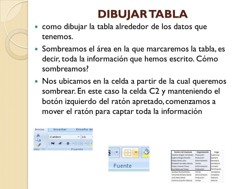 DIBUJAR TABLA como dibujar la tabla alrededor de los datos que tenemos. Sombreamos el área en la que marcaremos la tabla, es decir, toda la informació