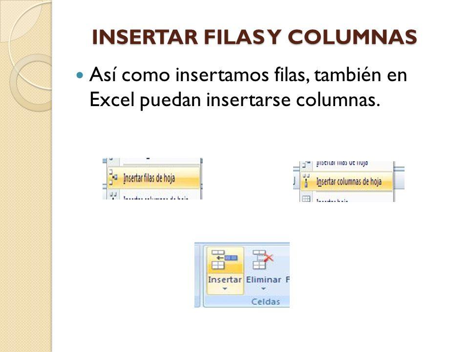 INSERTAR FILAS Y COLUMNAS Así como insertamos filas, también en Excel puedan insertarse columnas.