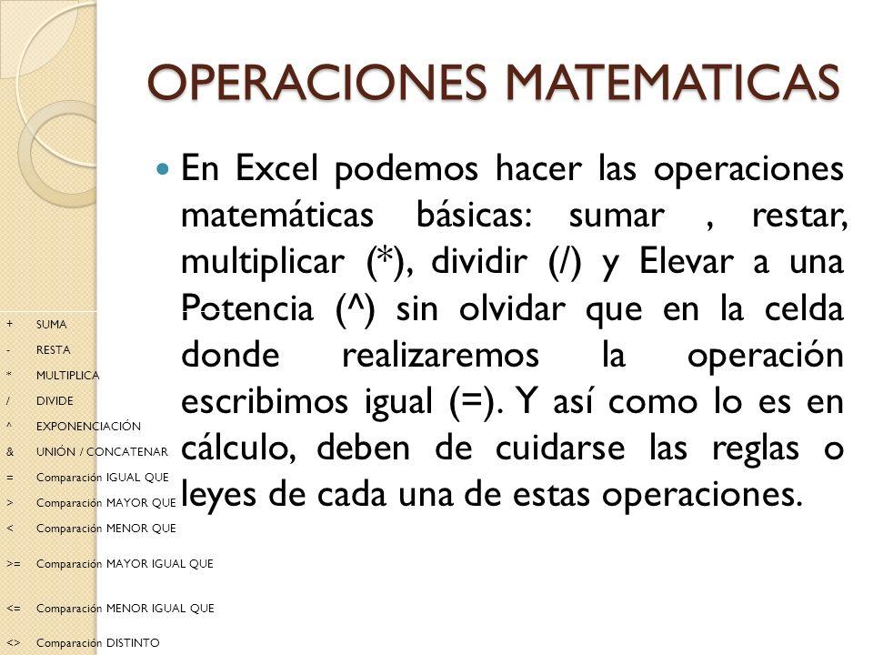 OPERACIONES MATEMATICAS En Excel podemos hacer las operaciones matemáticas básicas: sumar, restar, multiplicar (*), dividir (/) y Elevar a una Potenci
