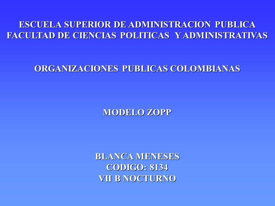 ESCUELA SUPERIOR DE ADMINISTRACION PUBLICA FACULTAD DE CIENCIAS POLITICAS Y ADMINISTRATIVAS ORGANIZACIONES PUBLICAS COLOMBIANAS MODELO ZOPP BLANCA MEN
